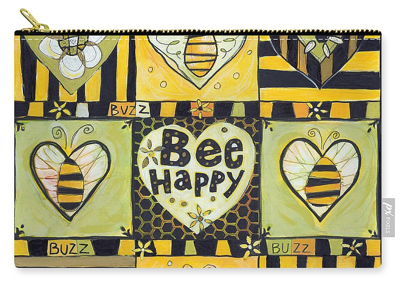 Bee Carry-all Pouch featuring the painting Bee Happy by Jen Norton