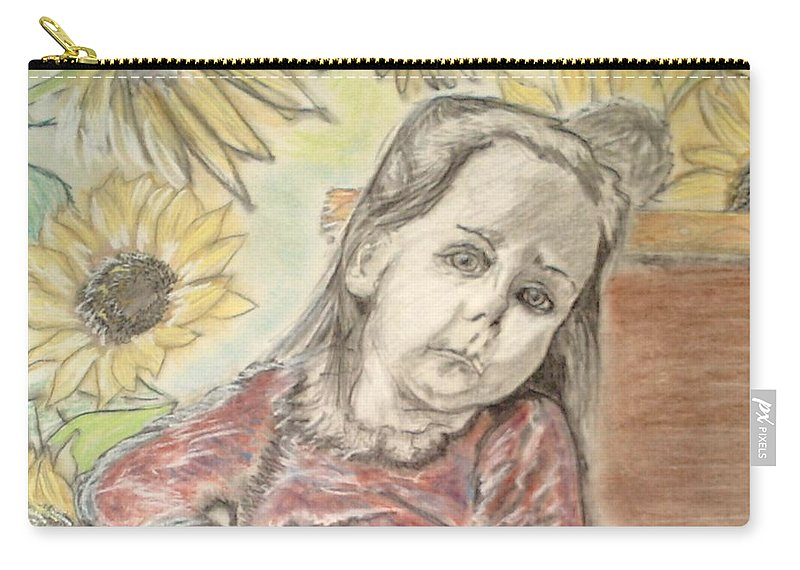 Flowers Carry-all Pouch featuring the drawing Bee in the flowers by J Bauer