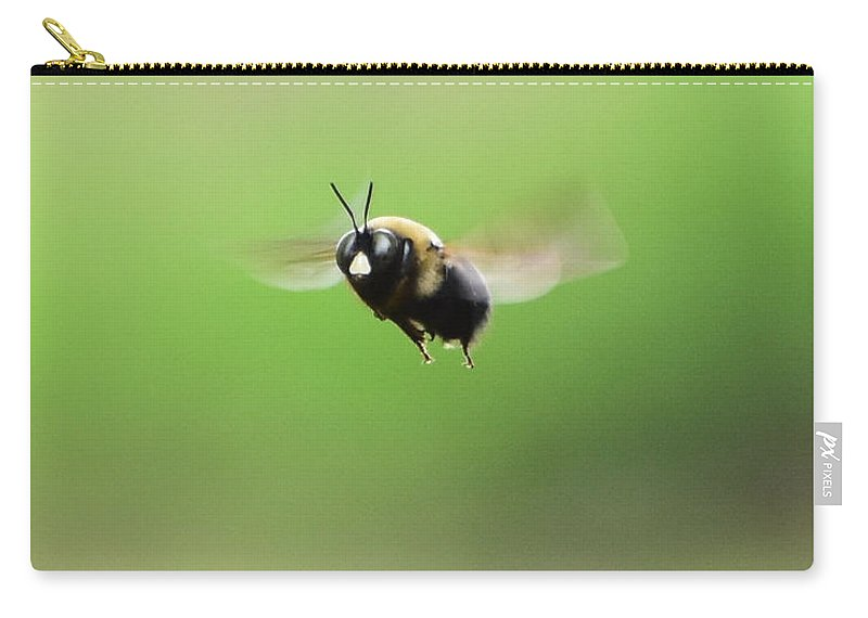 Brown Carry-all Pouch featuring the photograph Bee by Jeanette Fiveash