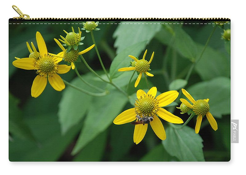 Macro Carry-all Pouch featuring the photograph Bee On A Flower by Rob Hans