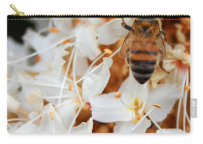 Flower Carry-all Pouch featuring the photograph Bee On Flowers 2 by Amy Fose