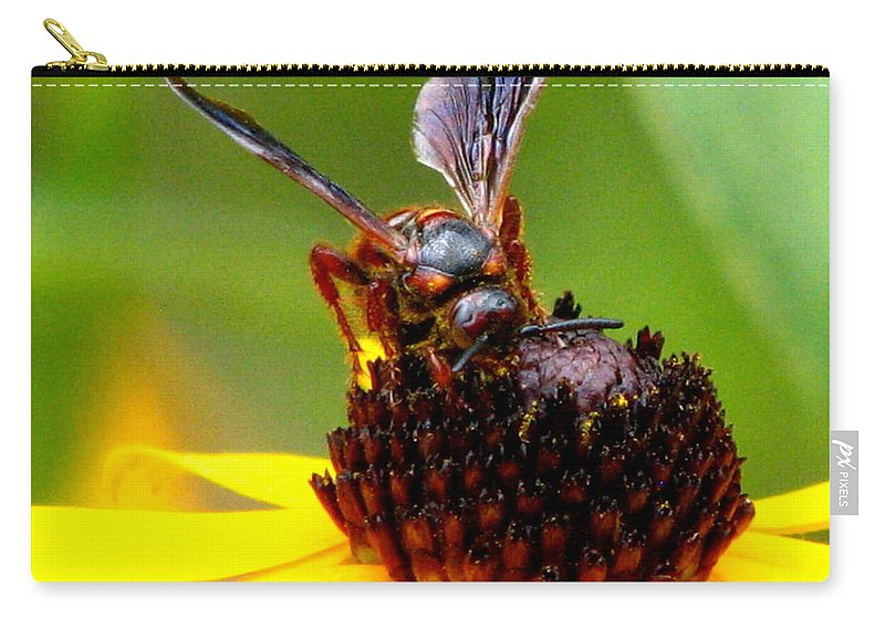 Lazy Susan Carry-all Pouch featuring the photograph Bee On Lazy Susan 3 by J M Farris Photography