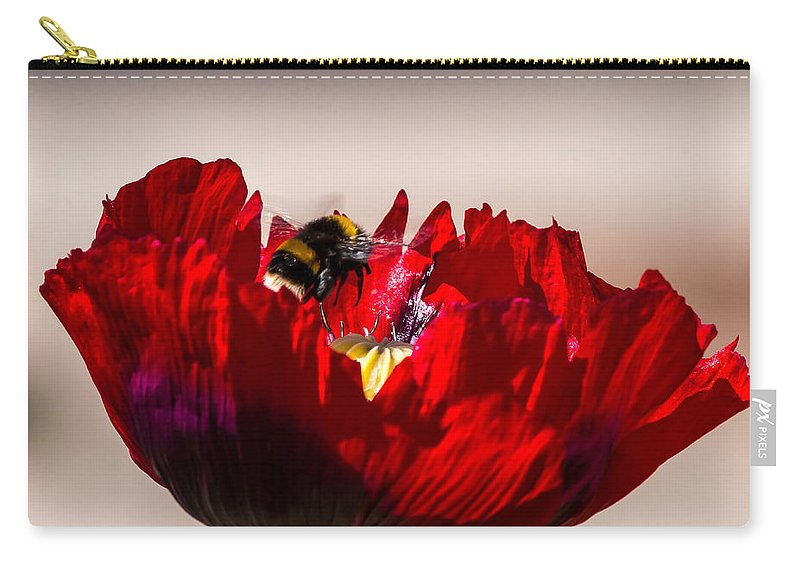 Flowers & Plants Carry-all Pouch featuring the photograph Bee Right Back With Red Flower by Jacek Wojnarowski