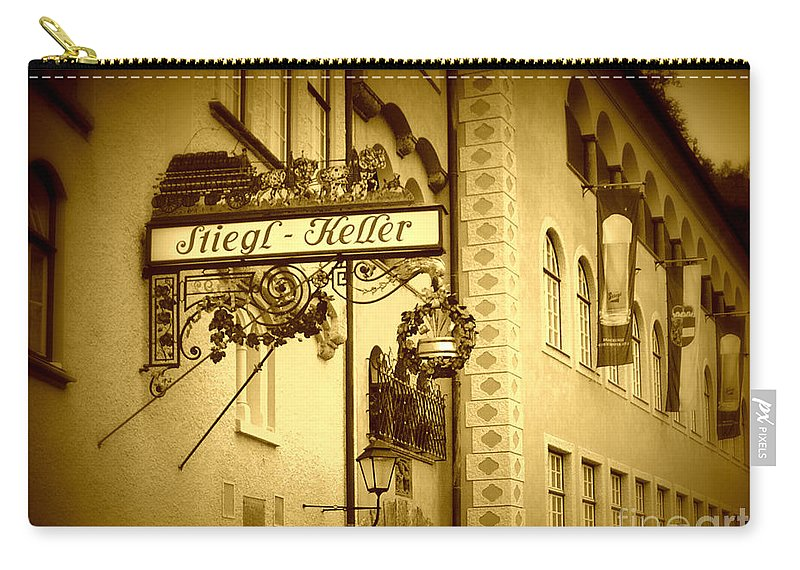 Beer Hall Carry-all Pouch featuring the photograph Beer Cellar In Salzburg by Carol Groenen