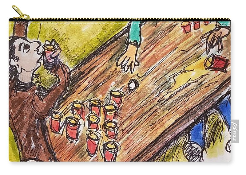Beer Carry-all Pouch featuring the mixed media Beer Pong Madness by Geraldine Myszenski