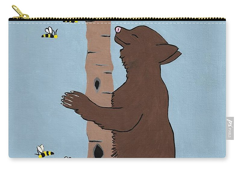 Brown Bear Carry-all Pouch featuring the painting Bees And The Bear by Kathleen Sartoris