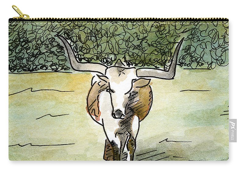 Longhorn Paintings Carry-all Pouch featuring the painting Beevo1 by Anna Katherine
