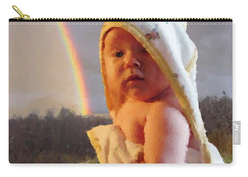Portrait Carry-all Pouch featuring the digital art Before She Smiled Or Mona Little by Ron Bissett