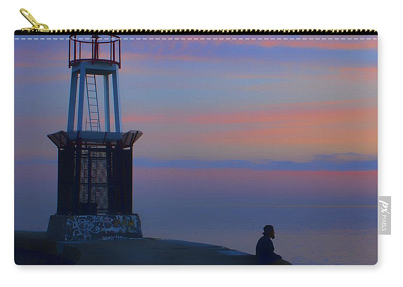 Chicago Carry-all Pouch featuring the photograph Before The Dawn - Hook Pier Lighthouse - Chicago by Nikolyn McDonald