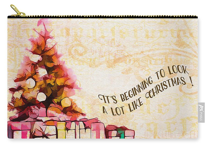 Holiday Carry-all Pouch featuring the digital art Beginning To Look Like Christmas Card 2017 by Kathryn Strick