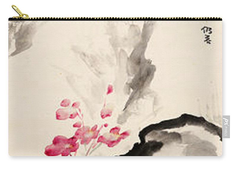 Lotus Plum Peony Flower Carry-all Pouch featuring the painting Begonia Flowers by Zhang Daqian