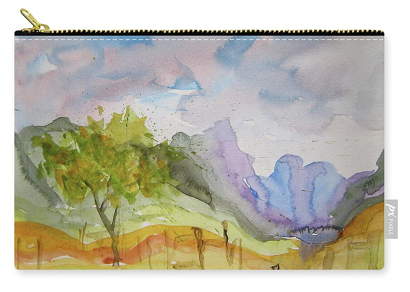Landscape Carry-all Pouch featuring the painting Behind Overland Sheepskin by Beverley Harper Tinsley