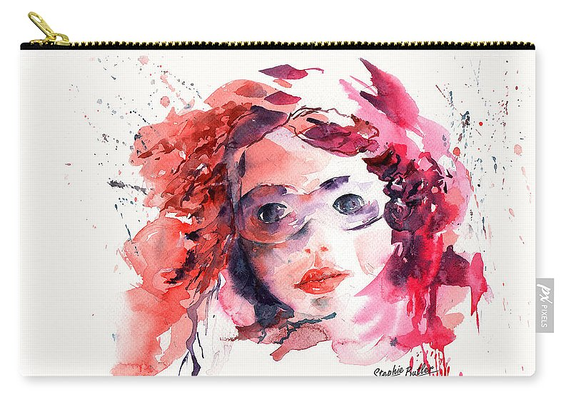 Stephie Butler Carry-all Pouch featuring the painting Behind The Mask by Stephie Butler