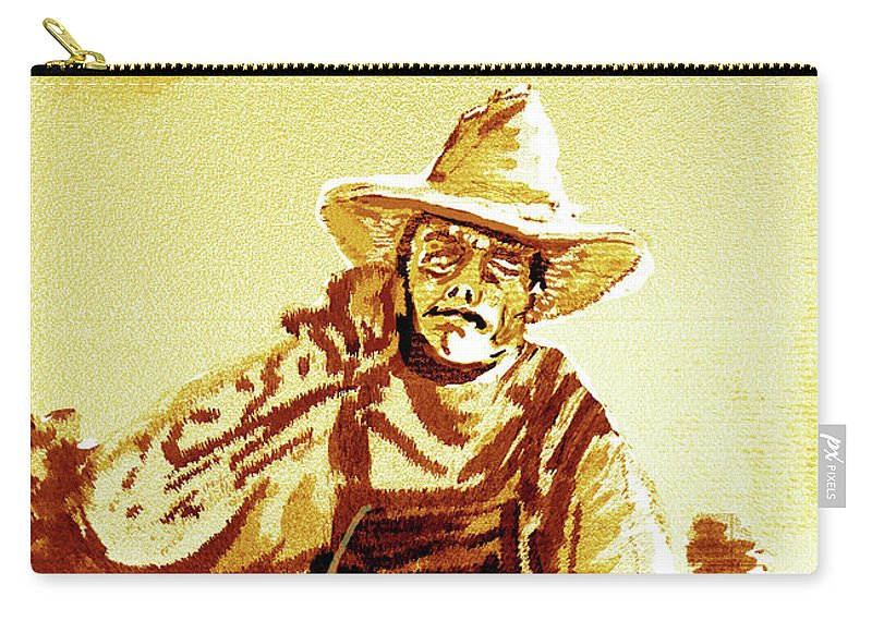 Tobacco Carry-all Pouch featuring the mixed media Behind The Plow by Seth Weaver