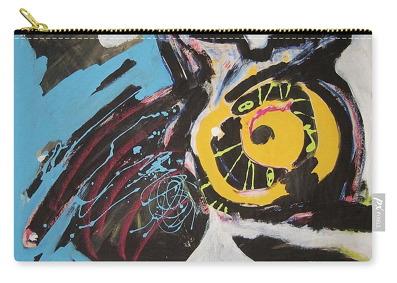 Abstract Cat Paintings Carry-all Pouch featuring the painting Being Lazy by Seon-Jeong Kim