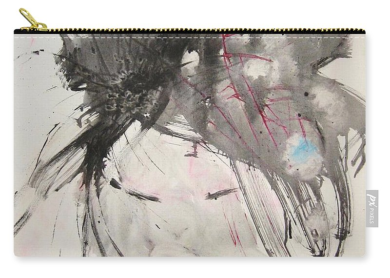 Black And White Paintings Carry-all Pouch featuring the painting Being Patient by Seon-Jeong Kim