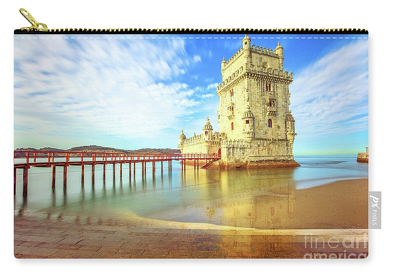 Lisbon Carry-all Pouch featuring the photograph Belem Tower Reflects by Benny Marty