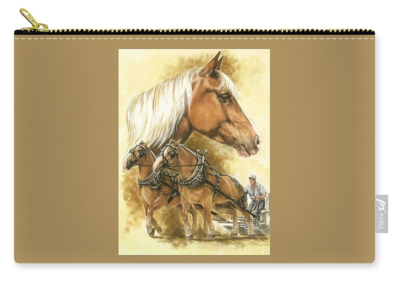 Equus Carry-all Pouch featuring the mixed media Belgian by Barbara Keith
