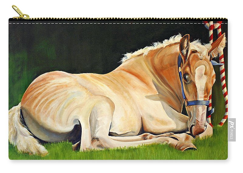 Belgian Carry-all Pouch featuring the painting Belgian Horse Foal by Toni Grote