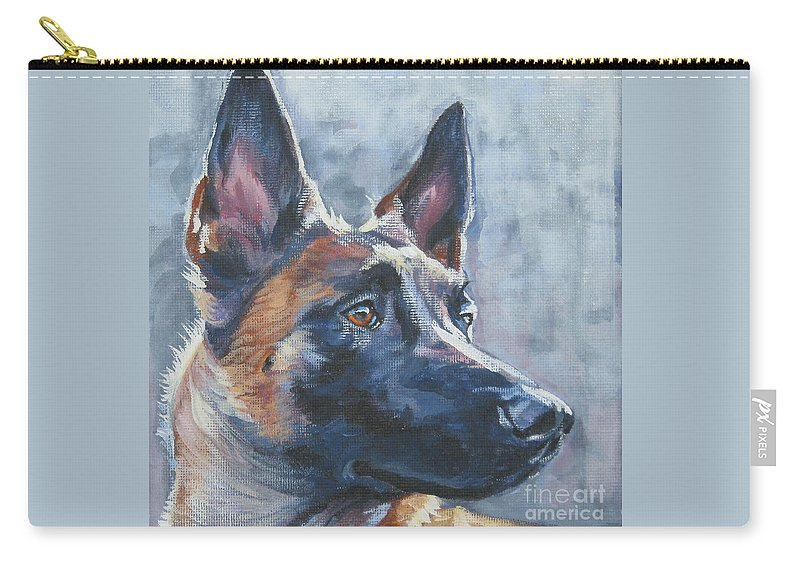 Belgian Malinois Carry-all Pouch featuring the painting Belgian Malinois In Winter by Lee Ann Shepard