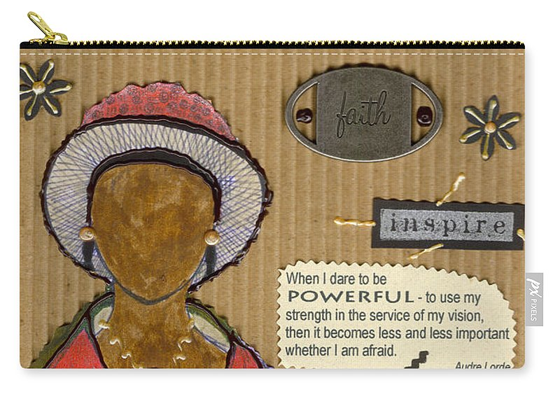 Woman Carry-all Pouch featuring the mixed media Believe Me by Angela L Walker
