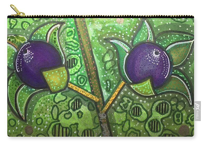 Deadly Nightshade Carry-all Pouch featuring the mixed media Bella Donna by Regina Jeffers