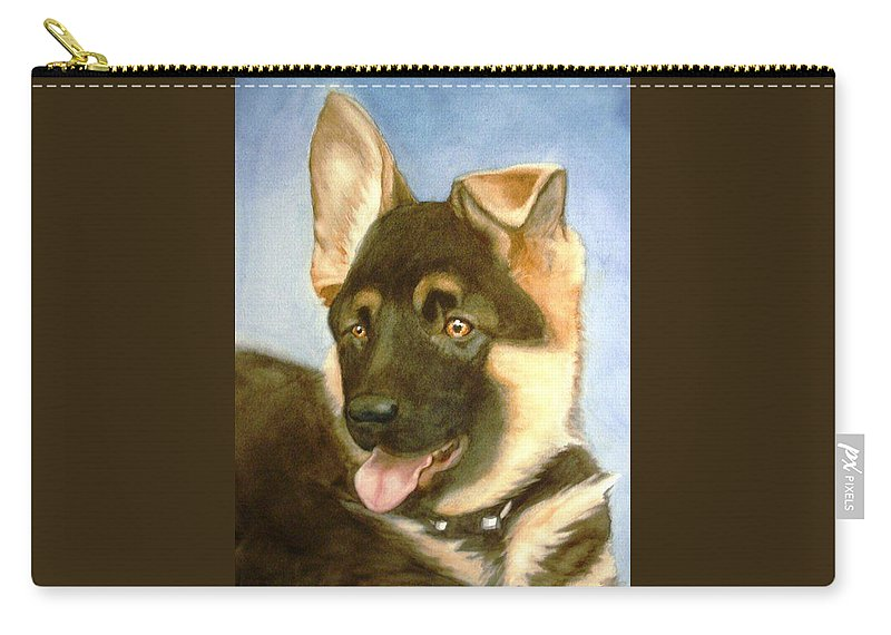 German Shepherd Puppy Carry-all Pouch featuring the painting Bella by Marilyn Jacobson