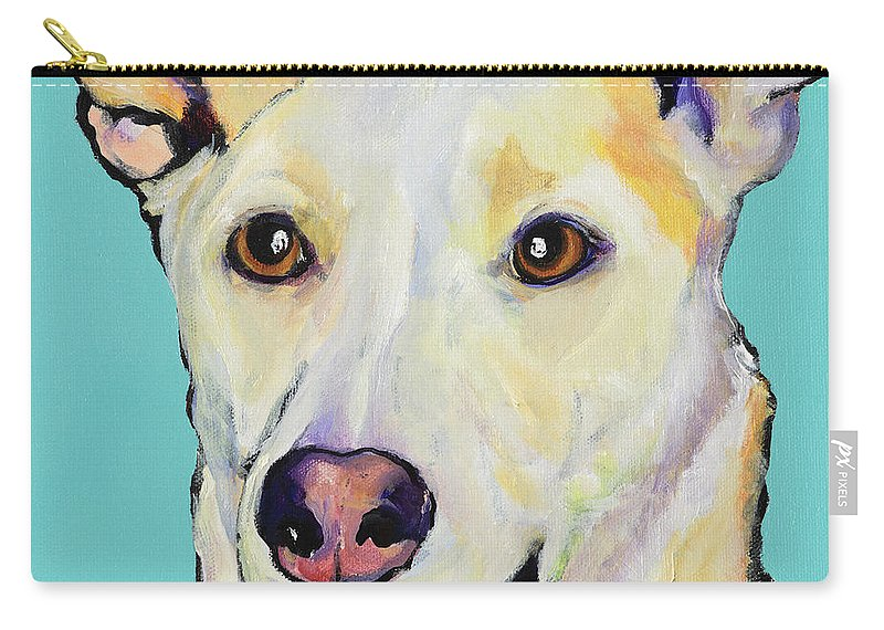 Dog Paintings Carry-all Pouch featuring the painting Bella by Pat Saunders-White