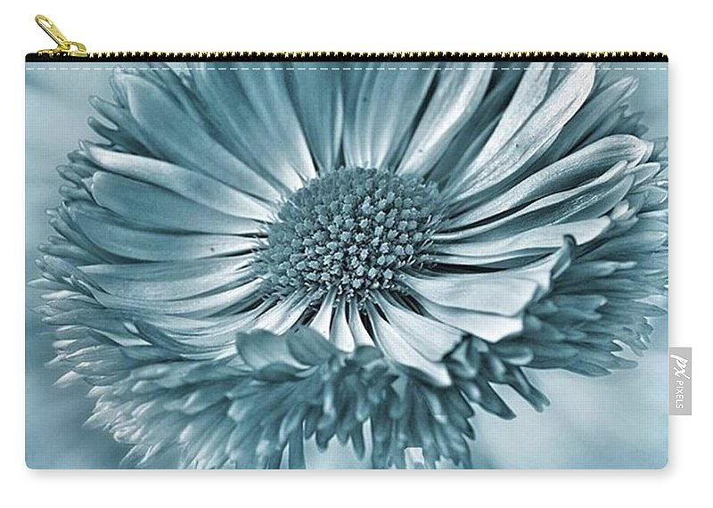 Beautiful Carry-all Pouch featuring the photograph Bellis In Cyan  #flower #flowers by John Edwards