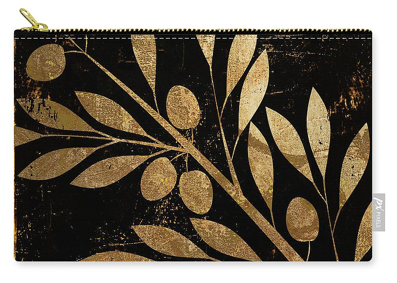 Gold And Black Carry-all Pouch featuring the painting Bellissima by Mindy Sommers