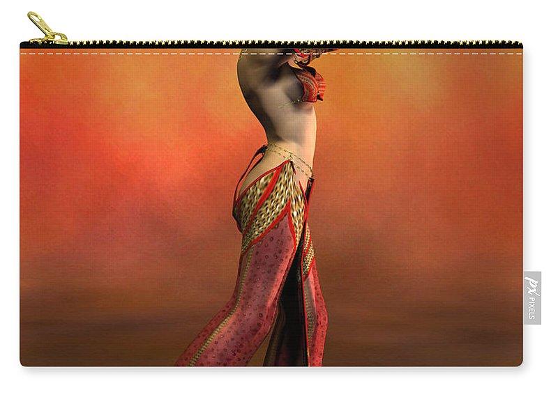 Belly Dancer Carry-all Pouch featuring the digital art Belly Dancer by John Junek