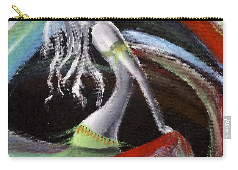 Colourful Carry-all Pouch featuring the painting Belly Dancer by Kelly Jade King