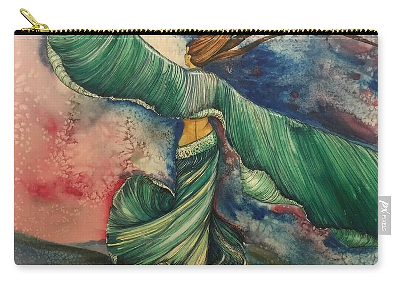 Belly Dancer Carry-all Pouch featuring the painting Belly Dancer With Wings by Mastiff Studios
