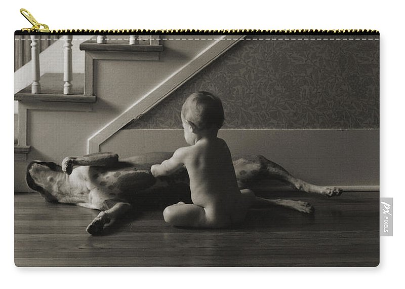 Dog And Baby Carry-all Pouch featuring the photograph Belly Scratch by Herman Robert