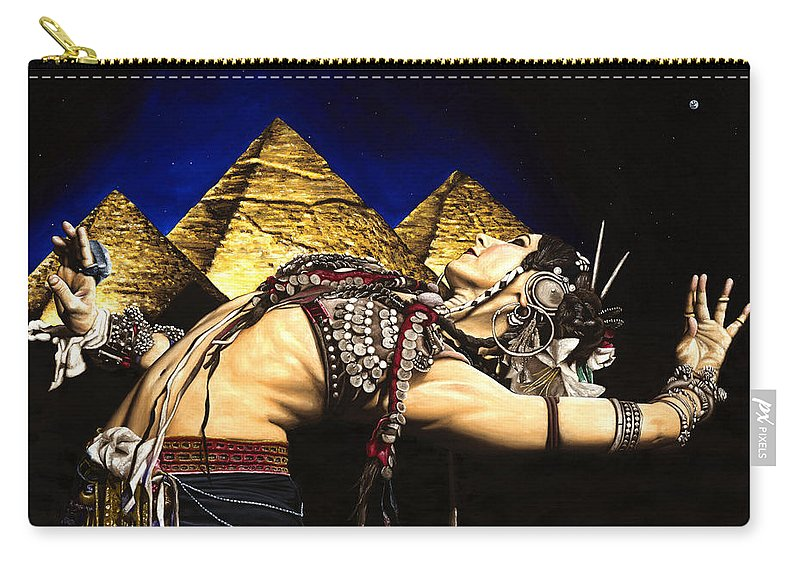 Bellydance Carry-all Pouch featuring the painting Bellydance Of The Pyramids - Rachel Brice by Richard Young