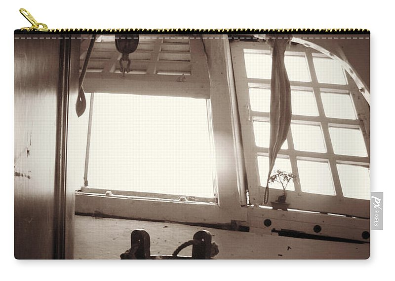 Black And White Carry-all Pouch featuring the photograph Below Deck by Valerie Reeves