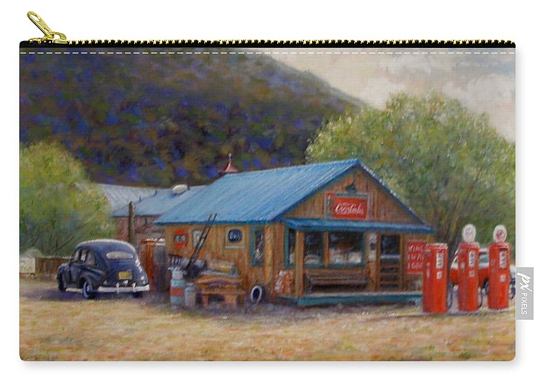 Realism Carry-all Pouch featuring the painting Below Taos 2 by Donelli DiMaria