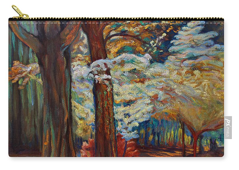 Trees Carry-all Pouch featuring the painting Below The Blossums by Maris Salmins