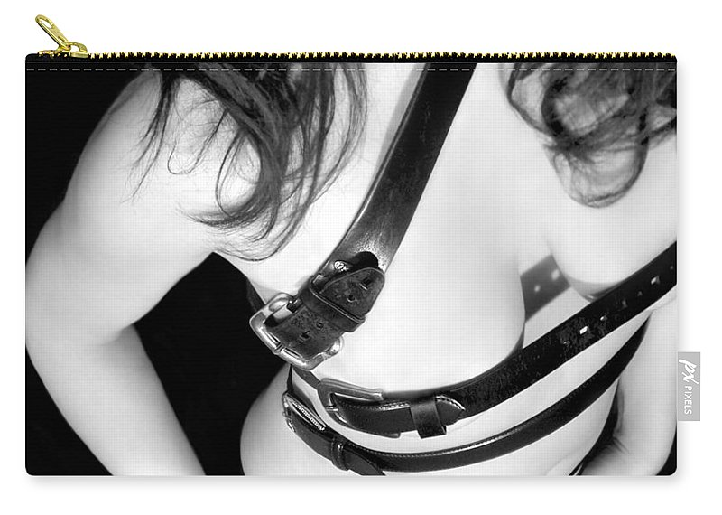 Artistic Carry-all Pouch featuring the photograph Belted 1 - Self Portrait by Jaeda DeWalt