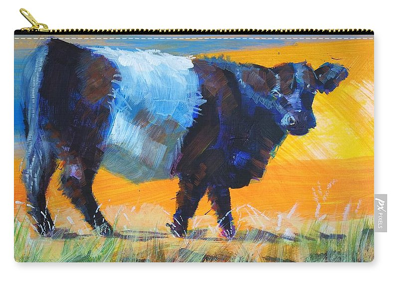 Belted Galloway Cow Carry-all Pouch featuring the painting Belted Galloway Cow Side View by Mike Jory