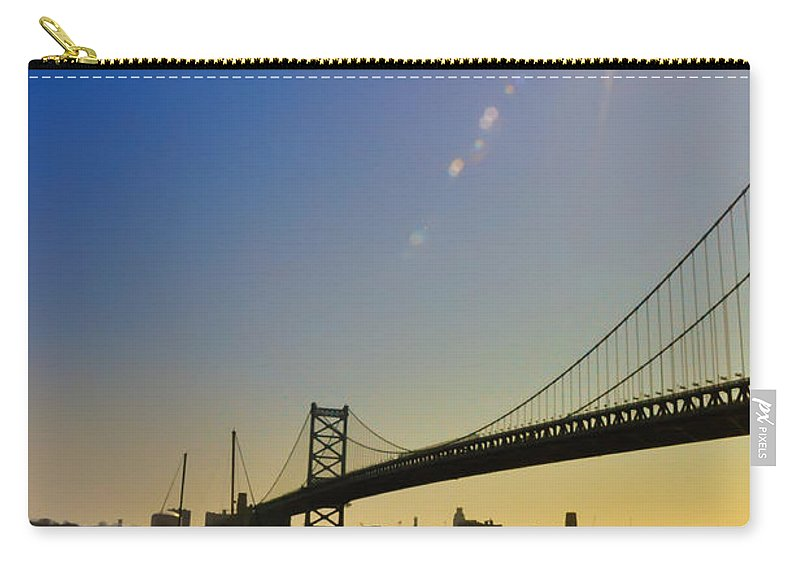 Philadelphia Carry-all Pouch featuring the photograph Ben Franklin Bridge From The Marina by Bill Cannon
