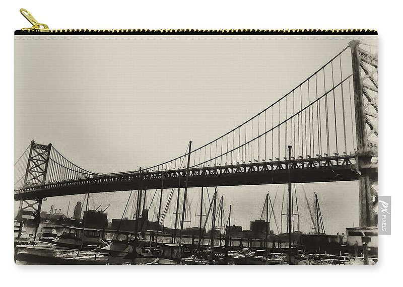 Philadelphia Carry-all Pouch featuring the photograph Ben Franklin Bridge From The Marina In Black And White. by Bill Cannon