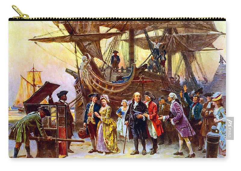 Benjamin Franklin Carry-all Pouch featuring the painting Ben Franklin Returns To Philadelphia by War Is Hell Store