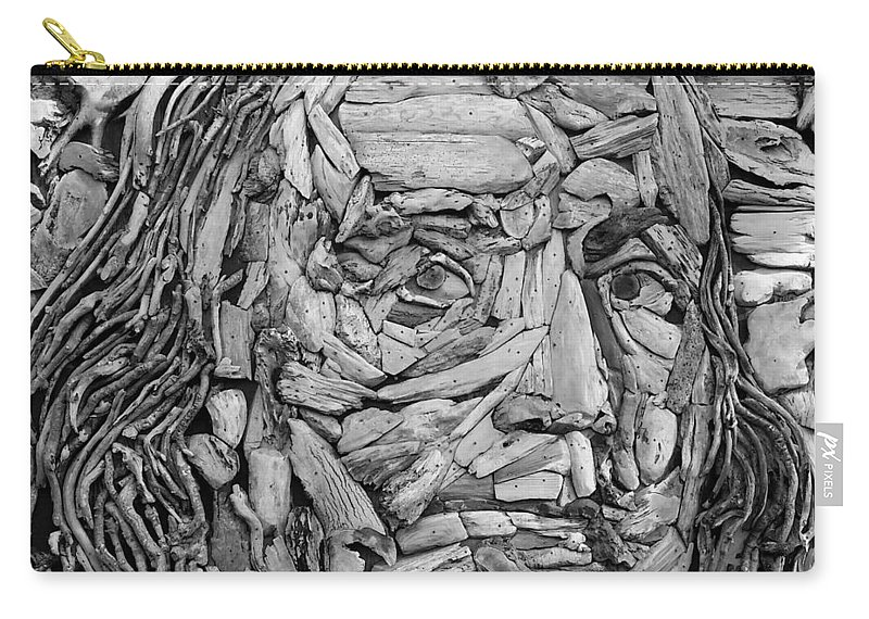 Ben Franklin Carry-all Pouch featuring the photograph Ben In Wood B W by Rob Hans