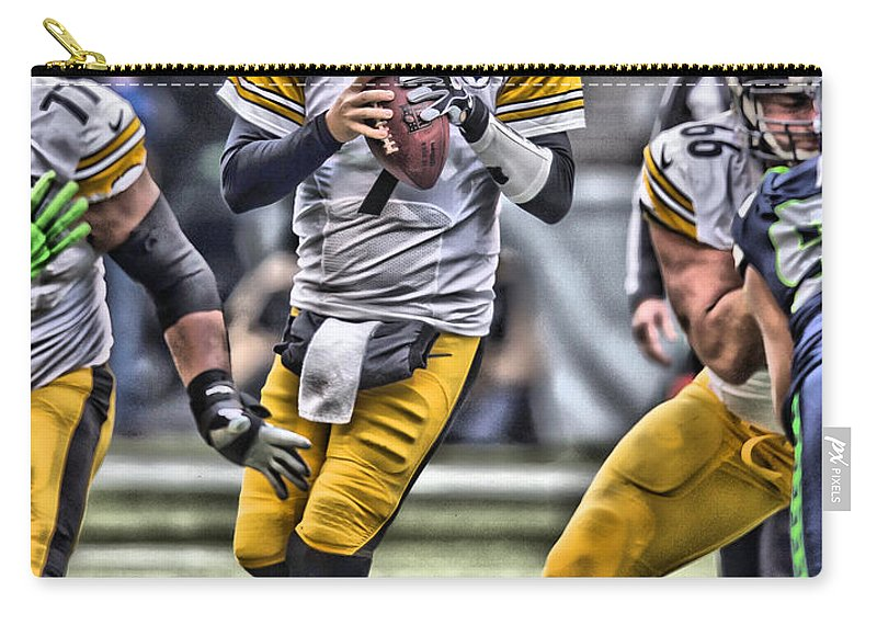 Ben Roethlisberger Carry-all Pouch featuring the painting Ben Roethlisberger Pittsburgh Steelers Art by Joe Hamilton