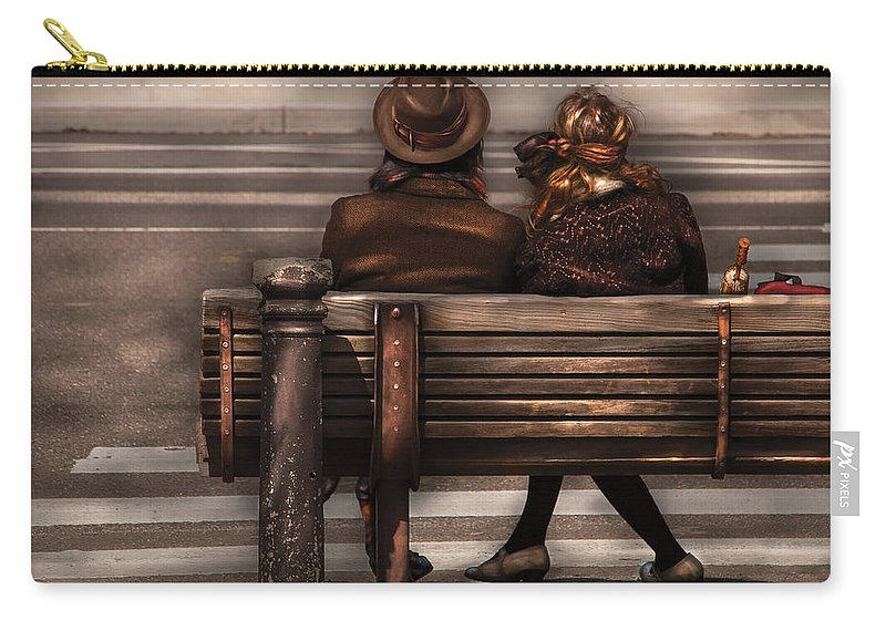 Steampunk Carry-all Pouch featuring the photograph Bench - A Couple Out Of Time by Mike Savad