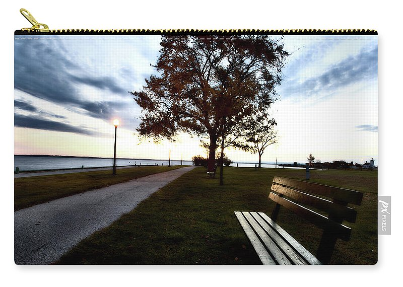Bench Carry-all Pouch featuring the digital art Bench And Street Light by Mark Duffy