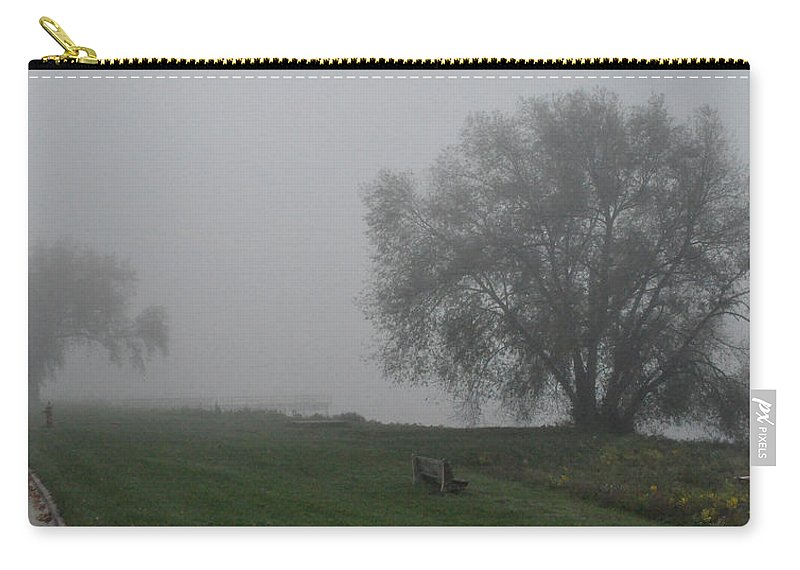 Fog Foggy Carry-all Pouch featuring the photograph Bench by Tim Nyberg