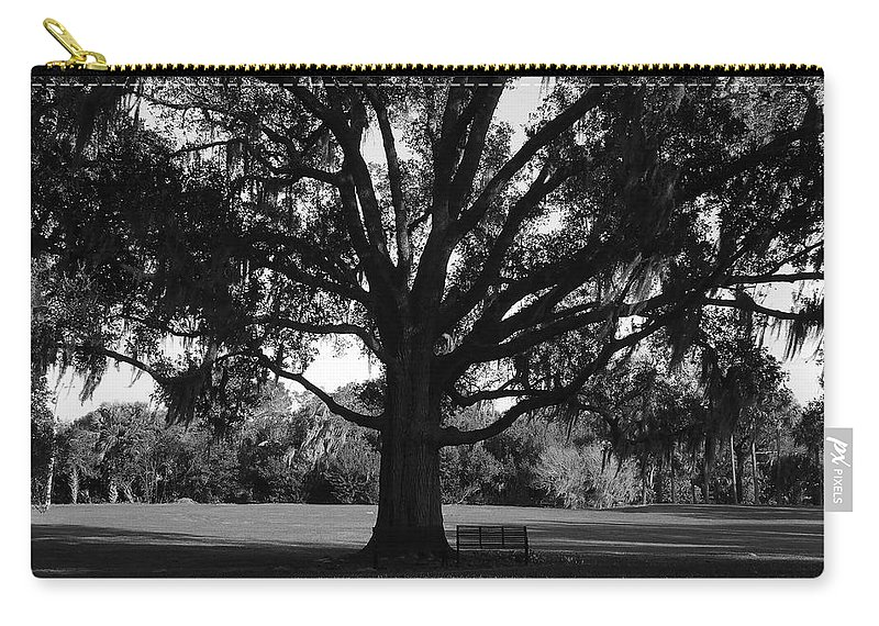 Park Bench Carry-all Pouch featuring the photograph Bench Under Oak by David Lee Thompson