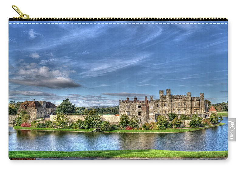 Leeds Castle Carry-all Pouch featuring the photograph Bench View Of Leeds Castle by Chris Thaxter